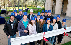 CWRU students and staff at the Tinkham Veale University Center topping off ceremony