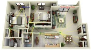 A conceptual illustration shows how self-powered wireless sensors could transform today's buildings into smart buildings.