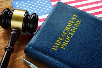 Impeachment procedure law, gavel and USA flag.