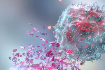 Photo illustration showing how immunotherapy can fight cancer cells