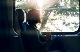 A middle aged woman sitting by the window of a commuter train