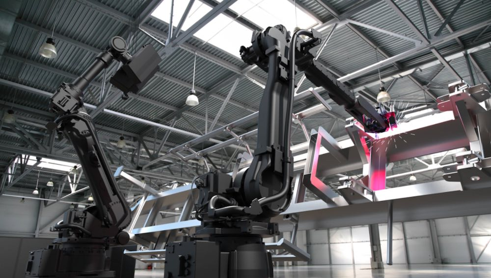 Photo showing the mechanical robotic welder at work