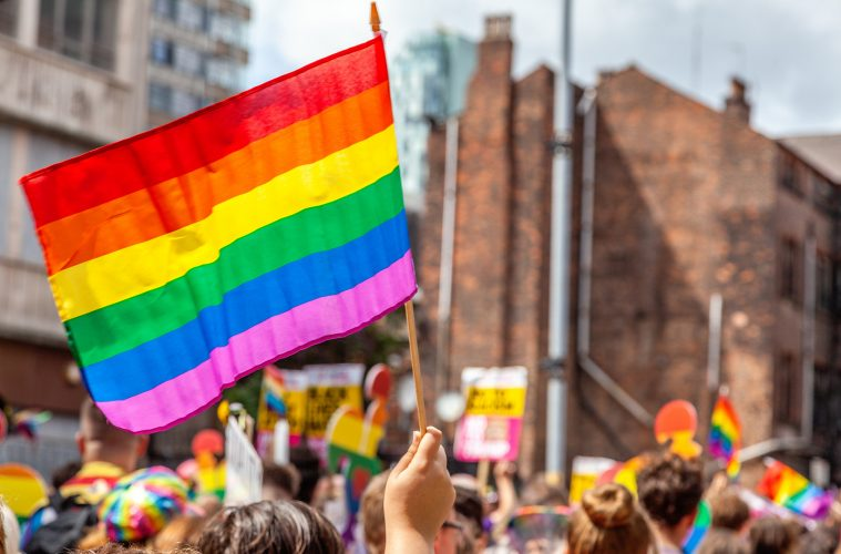 Pride parade flags with beautiful rainbow colors