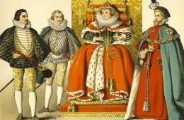 This vintage illustration depicts Queen Elizabeth I seated on her throne, with two noblemen standing to her right and the Knight of the Royal Garter standing to her left. Illustrated and painted by Albert Kretschmer (1825 - 1891), it was published in an 1882 collection of illustrated costumes of the world and is now in the public domain.