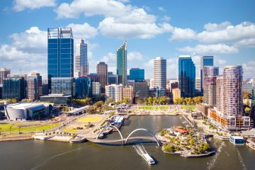 Top view of perth city and harbour from drone with blue sky.