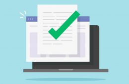 Approved and confirmed document file check online on laptop computer or quality control of text writing and creating icon flat cartoon, concept digital accepted or certified license paper form image