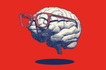 Retro drawing of brain with eyeglasses illustration on red BG