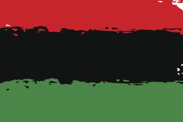 Photo of a paint-like stripes of red, black and green