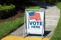 Voting sign on the walkway