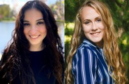 Photo compilation of photos of Leah Schachter and Claire Daugherty
