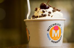 Photo of a cup of Mitchell's ice cream with a cherry and chocolate shavings on top