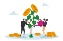 Business Man and Woman Characters Watering Money Tree, Growing Wealth Capital for Refund Care of Plant with Gold Coins