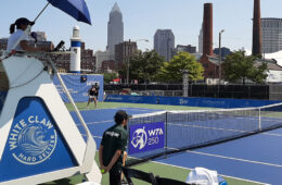 Photo of an umpire using a specially created chair at the 2021 Tennis in the Land event