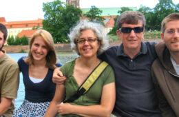 Photo of Wojbor Woyczynski with his wife and children in Wroclaw, Poland