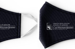 Photo compilation of two mask mockups with the logos for the CWRU medical and nursing schools on them