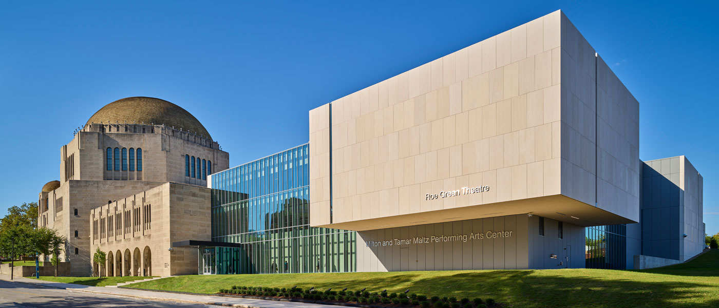 Photo of the exterior of the Maltz Performing Arts Center with the new Roe Green Theater complete