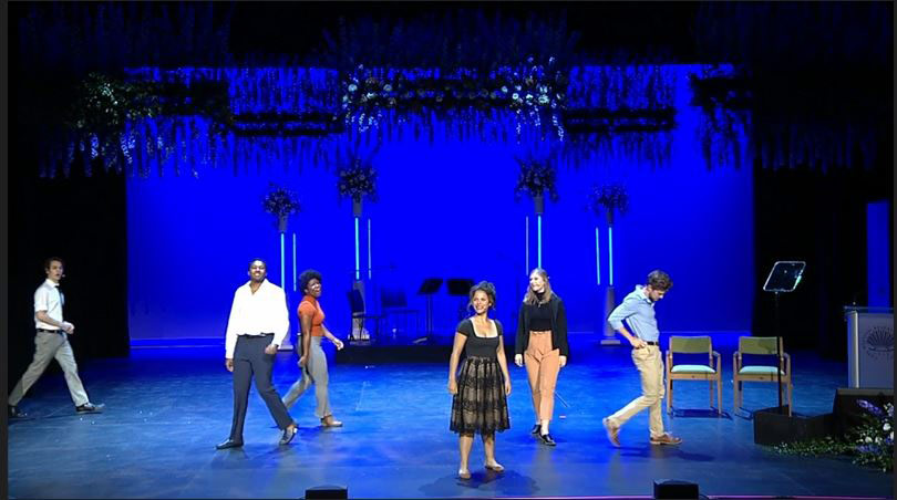 Photo of CWRU theater students performing on stage at the Maltz Performing Arts Center