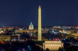 Aerial photo of Washington DC at night